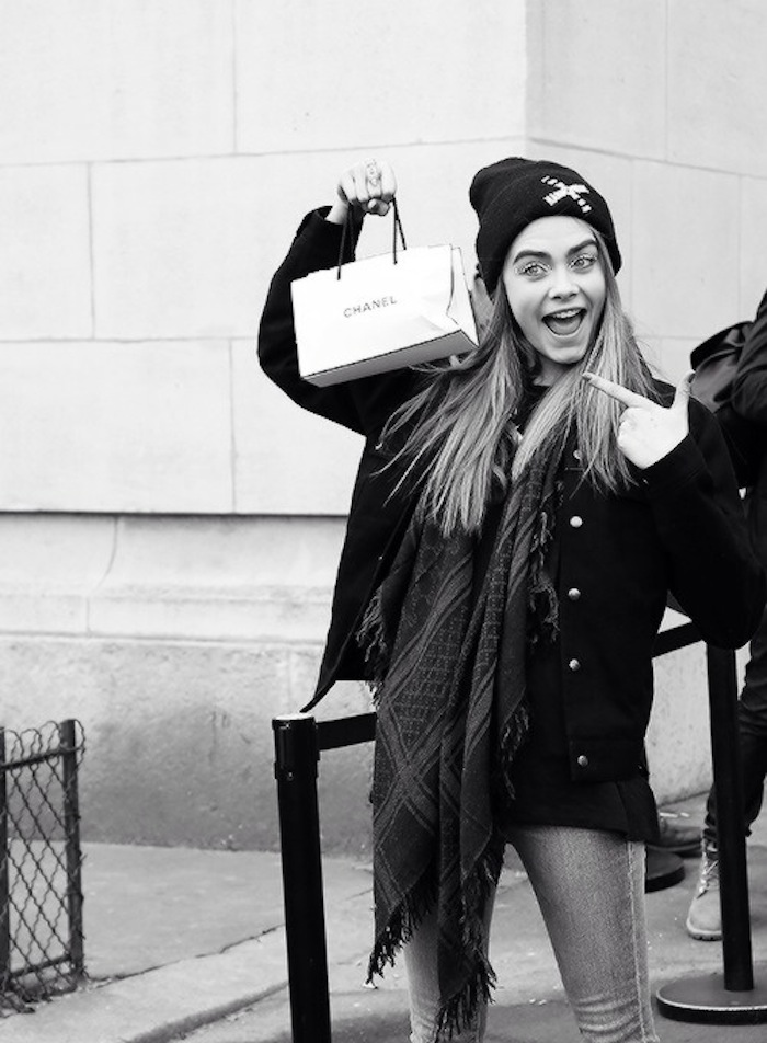 Cara Delevigne black and white